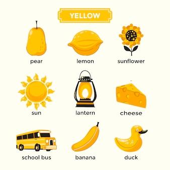 Tarjetas didácticas para aprender los colores amarillos y el conjunto de vocabulario