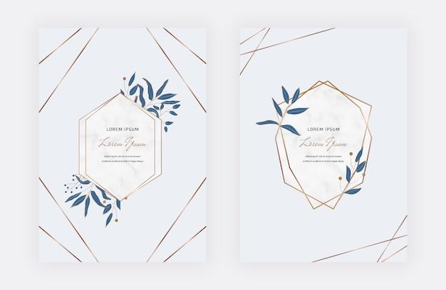 Tarjetas de diseño botánico con marcos geométricos de mármol y hojas azules. plantillas de moda
