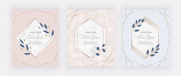 Tarjetas de diseño botánico con marcos geométricos de mármol y hojas azules.