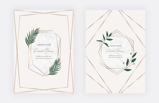 Tarjetas de diseño botánico con marcos geométricos de mármol y hojas verdes. plantillas de moda