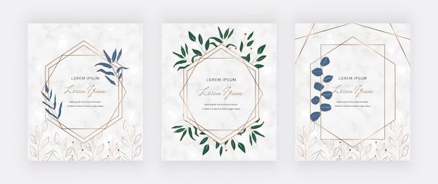 Tarjetas de diseño botánico con marcos de mármol geométrico hojas verdes.
