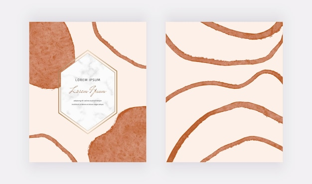 Tarjetas de diseño de formas de líneas de trazo de pincel a mano alzada boho