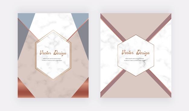 Tarjetas de diseño geométrico con triángulos desnudos, azules y dorados en la textura de mármol.