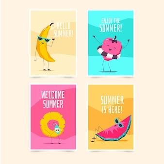 Tarjetas de diseño plano de fruta en la playa