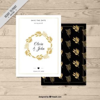 Tarjetas doradas florales de boda
