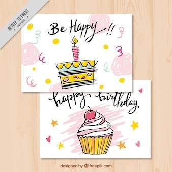 Tarjetas con dulces de feliz cumpleaños dibujadas a mano