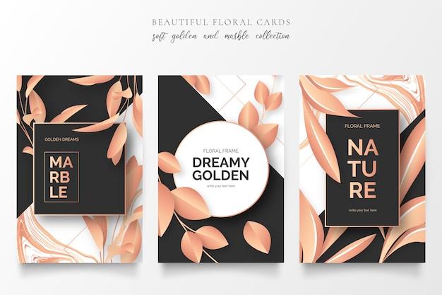 Tarjetas elegantes con naturaleza dorada