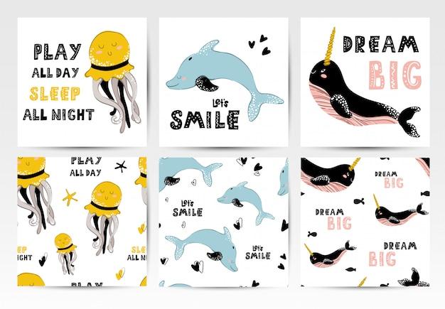 Tarjetas y estampados sin costuras con animales marinos.