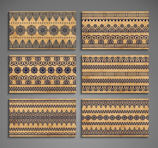 Tarjetas étnicas con ornamentos
