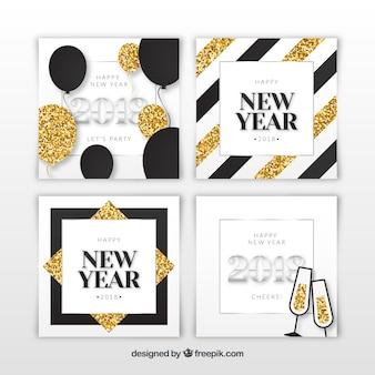 Tarjetas de felicitación de año nuevo 2018 plateadas y doradas con brillantina
