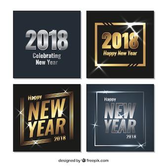Tarjetas de felicitación de año nuevo 2018 plateadas y doradas