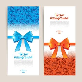 Tarjetas de felicitación con arcos de regalo y espacio de copia. ilustración vectorial