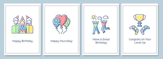 Tarjetas de felicitación de celebración de cumpleaños con conjunto de elementos de icono de color. feliz día. diseño vectorial de postal. folleto decorativo con ilustración creativa. notecard con mensaje de felicitación.