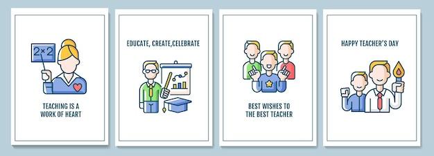 Tarjetas de felicitación de celebración del día mundial del maestro con conjunto de elementos de icono de color. carrera docente. diseño vectorial de postal. folleto decorativo con ilustración creativa. notecard con mensaje de felicitación.