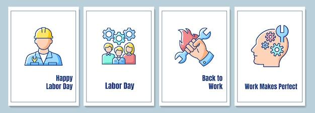 Tarjetas de felicitación de celebración del día del trabajo con conjunto de elementos de icono de color. reconocimiento del movimiento laboral. diseño vectorial de postal. folleto decorativo con ilustración creativa. notecard con mensaje de felicitación.