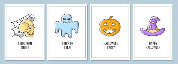 Tarjetas de felicitación de celebración de halloween con conjunto de elementos de icono de color. noche espeluznante. diseño vectorial de postal. folleto decorativo con ilustración creativa. notecard con mensaje de felicitación.