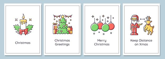 Tarjetas de felicitación de celebración de navidad con conjunto de elementos de icono de color. feliz navidad a todos. diseño vectorial de postal. folleto decorativo con ilustración creativa. notecard con mensaje de felicitación.