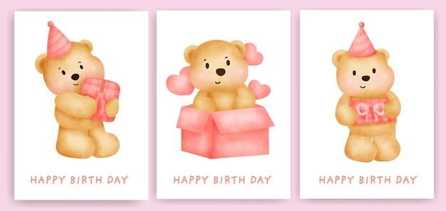 Tarjetas de felicitación de cumpleaños con lindo oso.