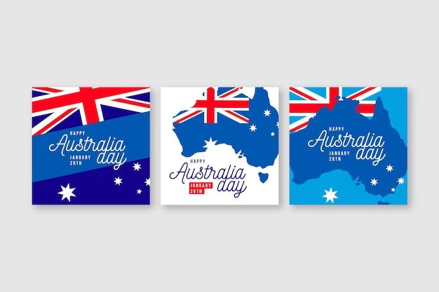Tarjetas de felicitación del día de australia con banderas