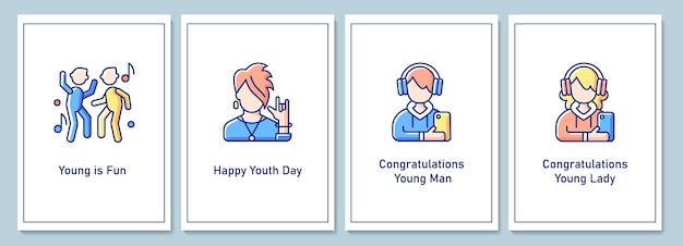 Tarjetas de felicitación del día internacional de la juventud con conjunto de elementos de icono de color. el papel de las mujeres y los hombres jóvenes. diseño vectorial de postal. folleto decorativo con ilustración creativa. notecard con mensaje de felicitación.