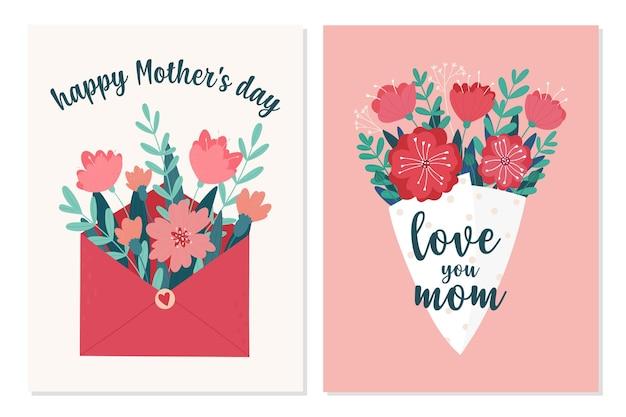 Tarjetas de felicitación del día de la madre feliz