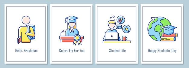 Tarjetas de felicitación del día mundial de los estudiantes con conjunto de elementos de icono de color. obteniendo recuerdos dorados. diseño vectorial de postal. folleto decorativo con ilustración creativa. notecard con mensaje de felicitación.