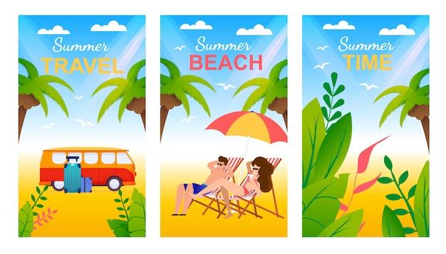 Tarjetas de felicitación de dibujos animados con playa tropical y letras publicidad viajes de verano