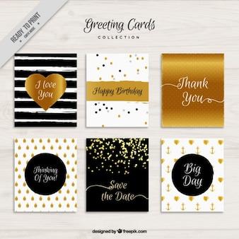 Tarjetas de felicitación con elementos brillantes