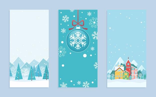 Tarjetas de felicitación de feliz navidad en estilo escandinavo de dibujos animados