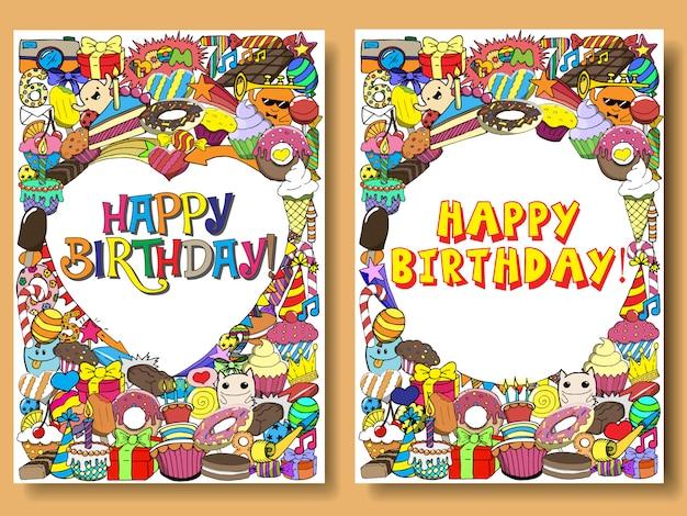 Tarjetas de felicitación fiesta de cumpleaños con dulces garabatos de fondo.