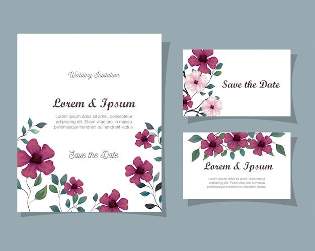 Tarjetas de felicitación con flores de color púrpura y rosa, invitaciones de boda con flores con ramas y hojas, decoración, ilustración, diseño