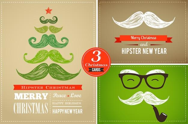 Tarjetas de felicitación hipster de año nuevo y feliz navidad