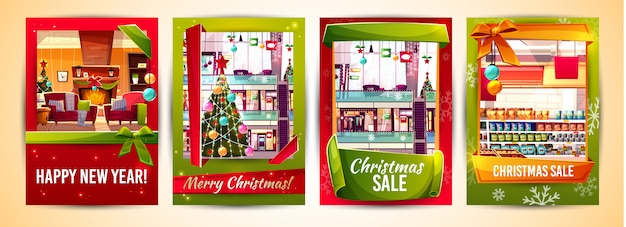 Tarjetas de felicitación de navidad y plantillas de carteles de venta de navidad.