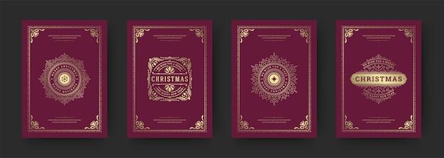 Tarjetas de felicitación navideñas con diseño tipográfico vintage, símbolos de adornos ornamentados con deseos de vacaciones de invierno, adornos florales y marcos florecientes