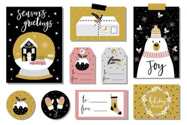 Tarjetas de felicitación navideñas y etiquetas de regalo