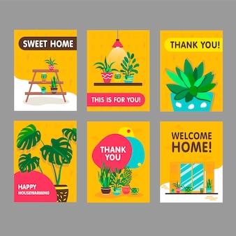 Tarjetas de felicitación con plantas caseras. plantas de interior con macetas ilustraciones vectoriales con agradecimiento y texto de bienvenida a casa. concepto de hogar y inauguración de la casa para el diseño de postales.