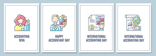 Tarjetas de felicitación de promoción de profesión contable con conjunto de elementos de icono de color. vacaciones globales. diseño vectorial de postal. folleto decorativo con ilustración creativa. notecard con mensaje de felicitación.