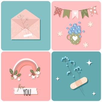 Tarjetas de felicitación románticas de primavera con flores, sobres y arco iris en estilo plano