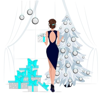 Tarjetas de felicitación para las vacaciones de invierno feliz navidad y próspero año nuevo chica elegantemente vestida