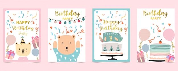Tarjetas de feliz cumpleaños con pastel, confeti, globo