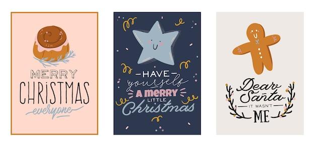 Tarjetas de feliz navidad o feliz año nuevo 2021 con letras de vacaciones y elemento tradicional de invierno.