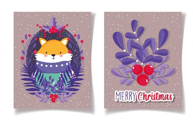 Tarjetas de feliz navidad con zorro con suéter y bayas de acebo