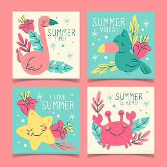 Tarjetas de fiesta de verano dibujadas
