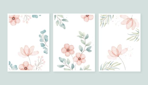 Tarjetas florales acuarela pintadas a mano