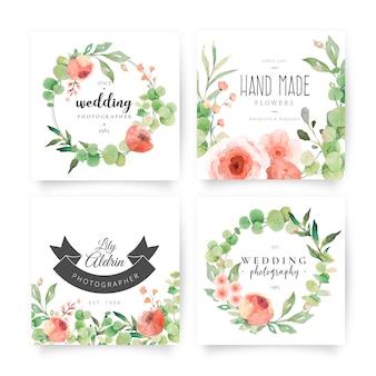 Tarjetas florales con logotipos de boda.