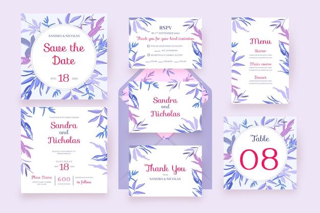 Tarjetas florales con marco flores papelería de boda en violeta
