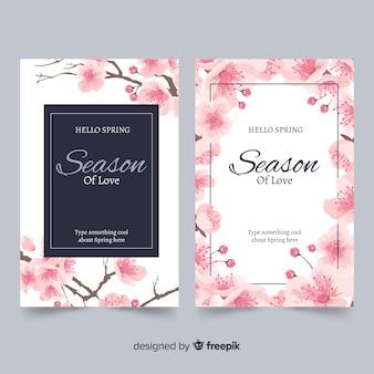 Tarjetas de flores de cerezo en tinta