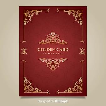 Tarjetas de flores doradas