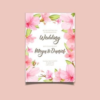 Tarjetas de fondo de flor de cerezo con flores dibujadas a mano