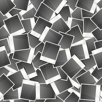Tarjetas fotográficas instantáneas retro, patrones sin fisuras